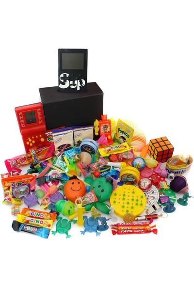 Nostaljik Lezzetler Özel Gıda ve Oyuncak Kutusu , Kırmızı Tetris ve Siyah Atarili