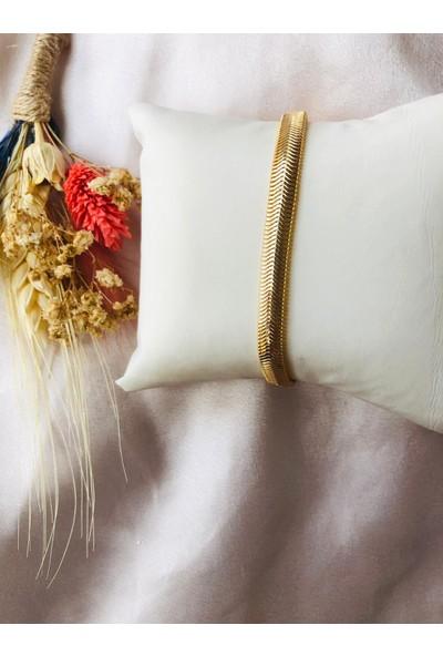 Bioaksesuar Kadın Gold Renk Kararmaz Çelik Bileklik