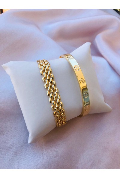 Bioaksesuar Kadın Gold Renk Kararmaz Çelik Kombin Bileklik