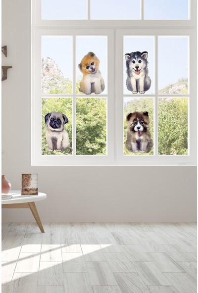 Sim Tasarım Suluboya Tarz Sevimli Köpekler Duvar Sticker Seti