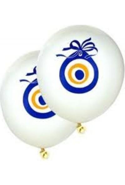 Balon 50 Adet Nazar Boncuklu Balon Beyaz 16 Inç