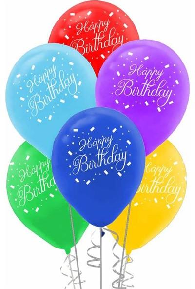 Balon 100 Adet Happy Bithday Balon Karışık Balon 16 Inç