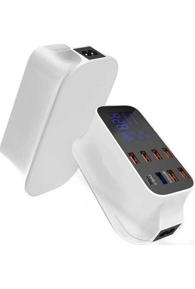 Paleon Doolike Çoklu USB 8 Port Şarj Doldurma Hızlı Şarj Adaptörü ( Typ-C )