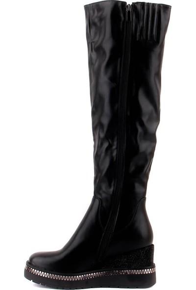 Guja 165 Dolgu Topuklu Siyah Çizme