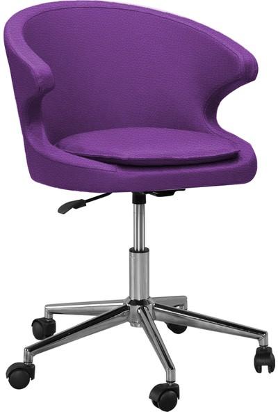 Sandino Koket - Mor, Suni Deri, Metal Ayaklı Çalışma Sandalyesi