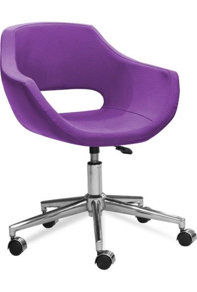 Sandino Viva - Mor, Suni Deri, Metal Ayaklı Ofis Çalışma Sandalyesi