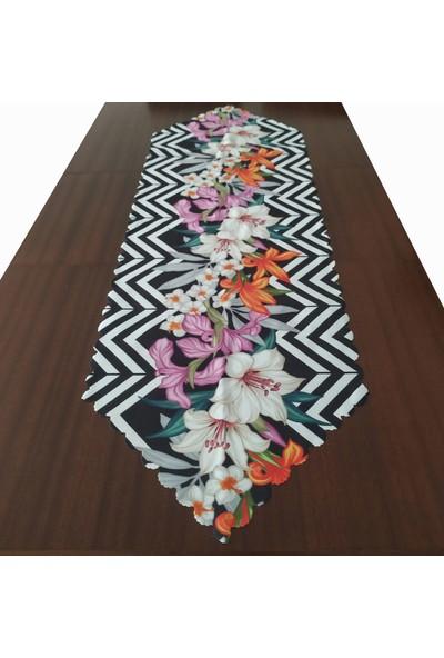 Kırlent Dünyası Zigzag Desenli Çiçekli Dekoratif Runner