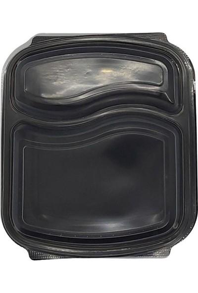 Folyo Term Iki Bölmeli Plastik Gıda Kabı+Kapak 50'li x 6 Paket (1 Koli)