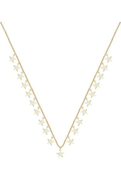 Melike Gold 14 Ayar Altın Sallantılı Yıldız Kolye