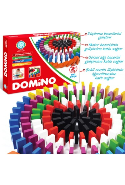 Circle Toys Domino Oyunu Renkli Ahşap 100 Parça
