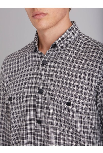 Dufy Siyah Ekose Pamuklu Erkek Gömlek - Slım Fıt
