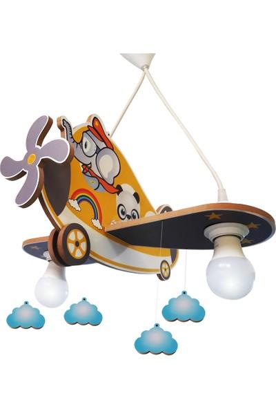 Arya Ahşap Uçak Fil Çocuk Odası Aydınlatma