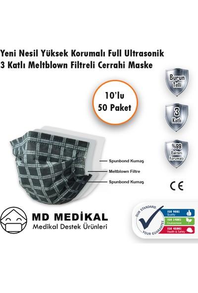 Md Medikal 3 Katlı Meltblown Filtreli TIP2R Full Ultrasonik Siyah Kare Desenli Burun Telli Sertifikalı Cerrahi Maske 10'lu x 50 Adet