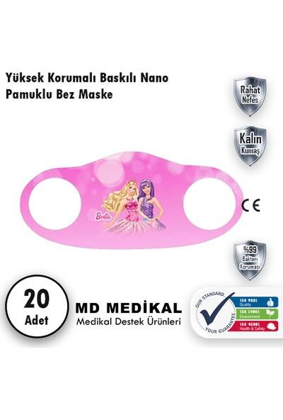 Md Medikal Barbie Baskılı - Çocuklar Için Yıkanabilir Koruyucu Nano Maske 5'li Paket x 3 Adet