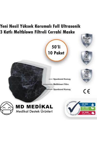 Md Medikal 3 Katlı Meltblown Filtreli TIP2R Full Ultrasonik Siyah Selçuklu Desenli Burun Telli Sertifikalı Cerrahi Maske 50'li x 10 Adet
