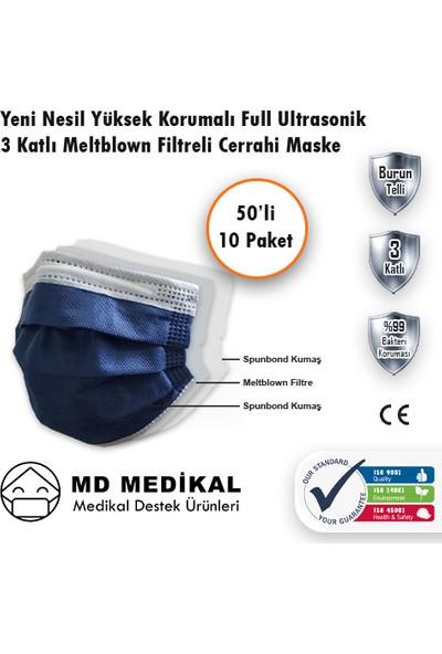 Md Medikal 3 Katlı Meltblown Filtreli TIP2R Full Ultrasonik Lacivert Renkli Burun Telli Cerrahi Maske 50'li x 10 Adet