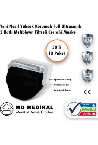 Md Medikal 3 Katlı Meltblown Filtreli TIP2R Full Ultrasonik Siyah Renkli Burun Telli Cerrahi Maske 50'li x 10 Adet