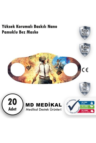 Md Medikal Pubg Mobile Baskılı - Çocuklar Için Yıkanabilir Koruyucu Nano Maske 20'li Paket