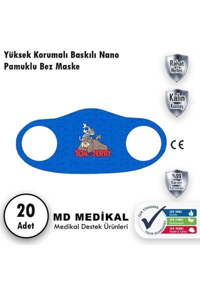 Md Medikal Tom And Jerry Baskılı - Çocuklar Için Yıkanabilir Koruyucu Nano Maske 20'li Paket