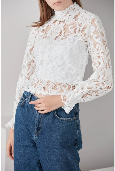 Waqpoo Ajurlu Dantel Bluz - Beyaz