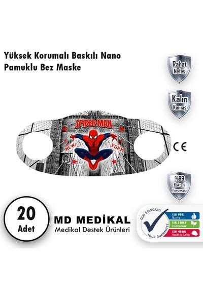 Md Medikal Spiderman Baskılı - Çocuklar Için Yıkanabilir Koruyucu Nano Maske 20'li Paket