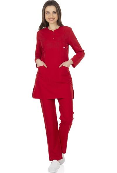 TıpMod Kırmızı Tesettür Hemşire Forması