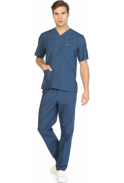 TıpMod Indigo Terikoton Doktor / Hemşire Forması Nöbet Takımı