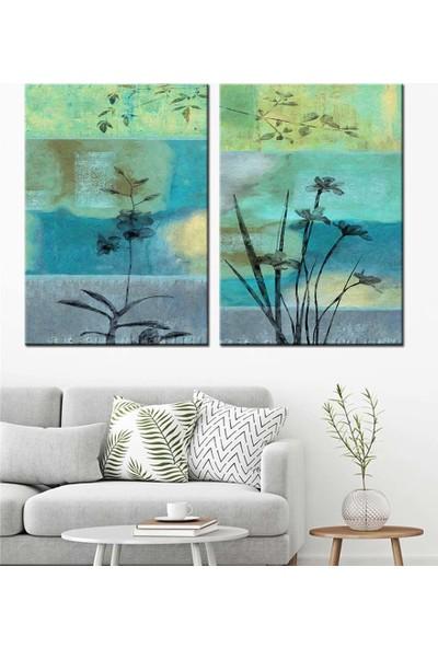Caddeko Mavi Gri Çiçek ve Dallar Yağlı Boya Görünüm 2 Parça Kanvas Tablo dkm-k71-14-15 -2 Adet 70x100