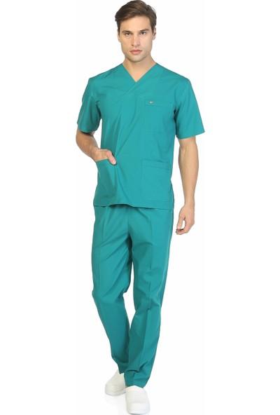 TıpMod Koyu Yeşil Terikoton Doktor / Hemşire Forması Nöbet Takımı