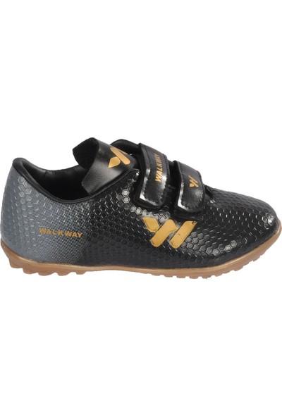 Walkway 023 Siyah-Altın Cırtlı Çocuk Halısaha Ayakkabı