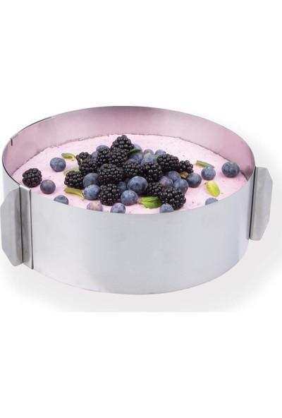 Nar Kalıp Narkalıp Ayarlanabilir 8 cm Yuvarlak Kek Pasta Pandispanya Kalıbı Çemberi ve Metal Altlık