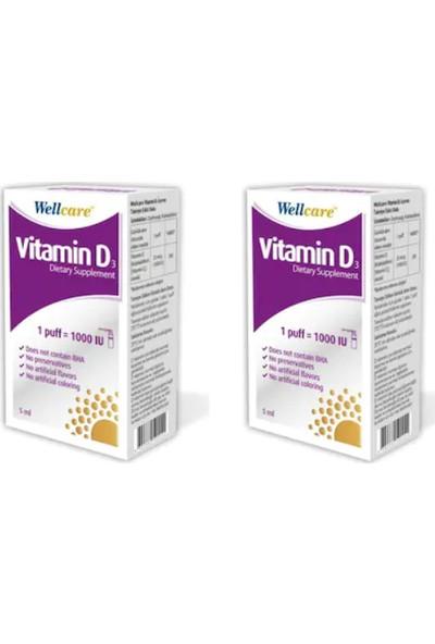 Wellcare Vitamin D3 1000'LÜ 5 ml - 2 Adet