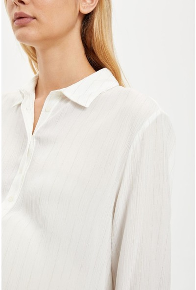 DeFacto Yarım Düğmeli Relax Fit Gömlek S1708AZ20AU