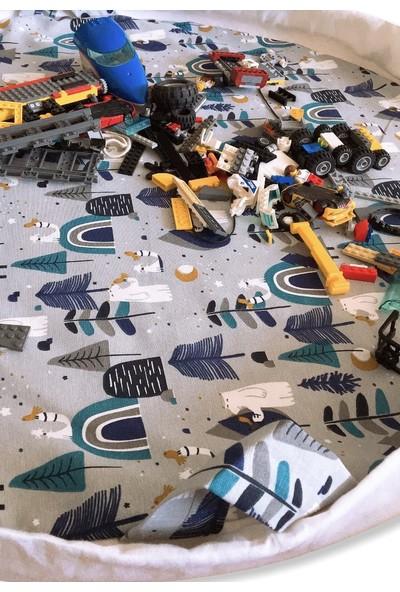 Minikom Baby Oyna&topla Taşınabilir Oyun Halısı Oyuncak Çantası Bebek Kıyafet Kesesi Hediyeli Oyun Matı Kutup Ayıları