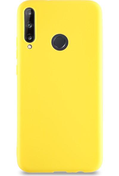 CaseArt Huawei P40 Lite E Kılıf Kamera Korumalı Premier Silikon Kapak - Sarı
