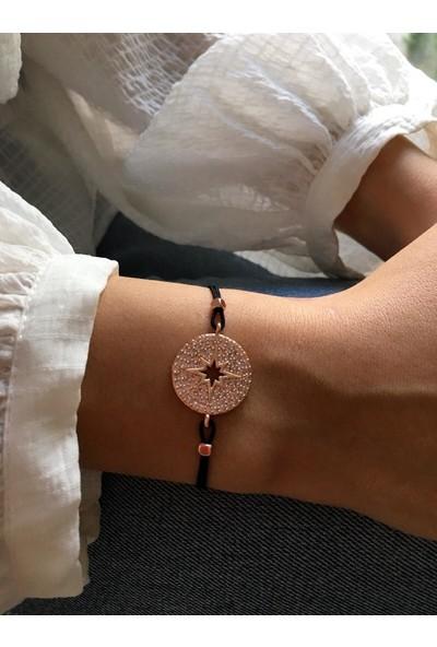 Serpil Jewellery Rose Renk Zirkon Taşlı Siyah İpli Kutup Yıldızı Bileklik