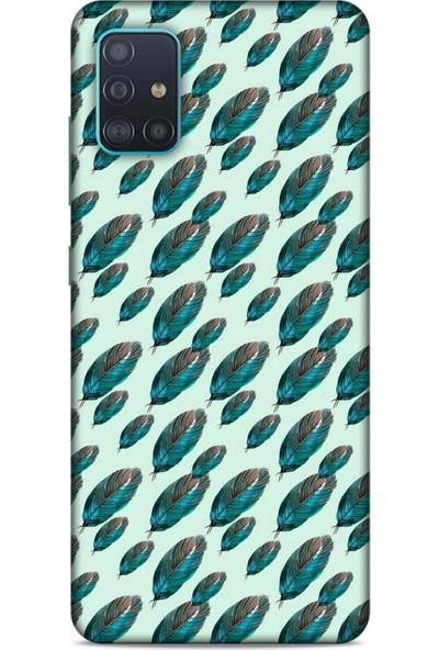Lopard Samsung Galaxy A51 Kılıf Desenli Özel Seri Tüyler (50) Shockproof Kılıf
