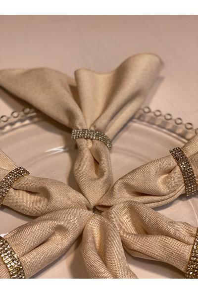 Bizim Moda Keten Kumaşlı Taşlı Tokalı 6 Adet Peçete