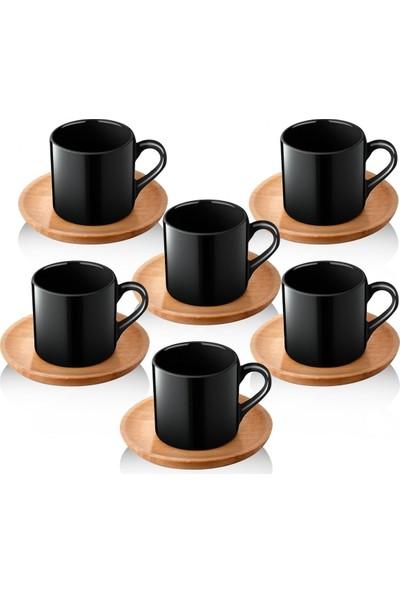 Queen's Kitchen Doğal Ahşap Tabaklı 6 Kişilik Kahve Takımı