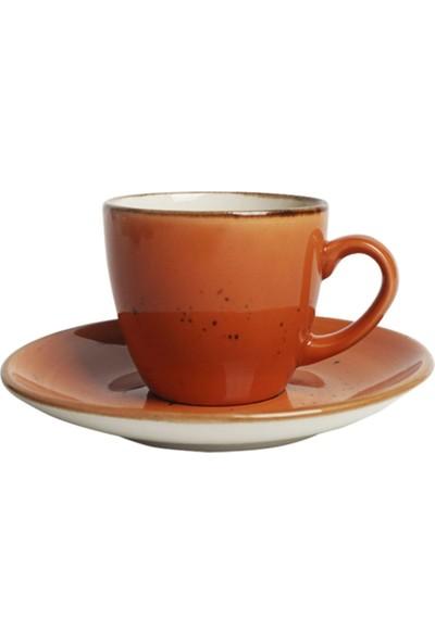 Tulü Porselen Kitchen Trend Luna Turuncu 6 Kişilik Kahve Fincan Takımı