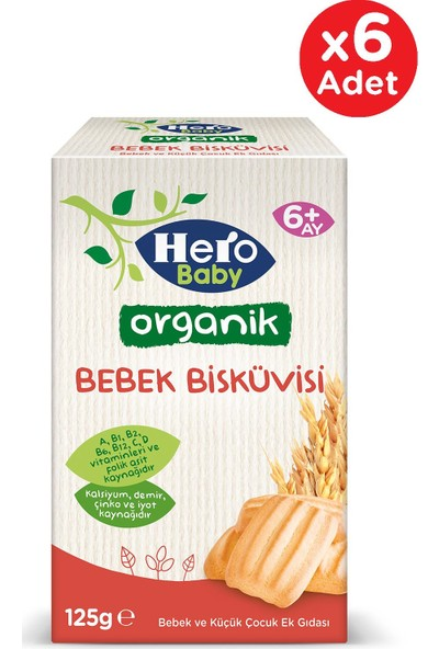 Hero Baby Organik Bebek Bisküvisi 125G 6 Adet