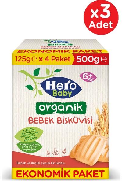 Hero Baby Organik Bebek Bisküvisi 500G 3 Adet
