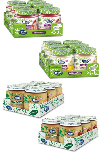 Hero Baby Organik ve Prebiyotikli Meyveli Kavanoz Mama Paketi