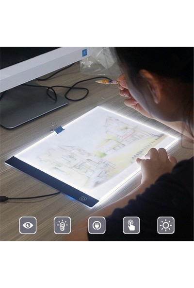 Tikteck A4 LED Ultra İnce Animasyon, Çizgi Film, Portre, Dövme Grafik Çizim Tableti