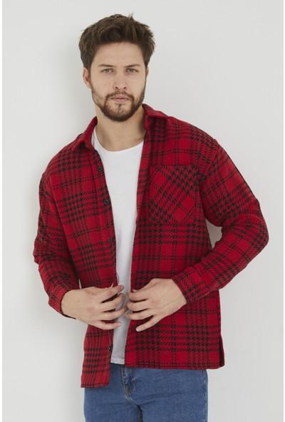 Gavazzi Erkek Kırmızı Oversize Uzun Kol Kareli/ekoseli Kalın Kumaş Oduncu Gömleği