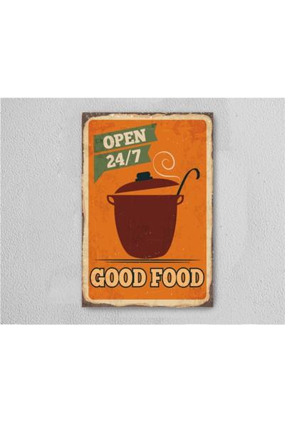 Walldeco Good Food Retro Vintage Ahşap Poster Tablo