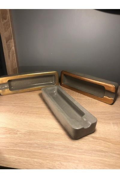 Talya Art Desing Beton Puroluk, Puro Küllüğü, Puro Aksesuarları (1 Adet, Beton Rengi Üzeri Bronz Şeritli)