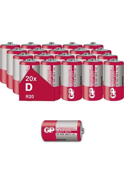 Gp 13E Powercell Kalın Pil Çinko Karbon D/R20/E95, 1.5V, 20 Li Paket, Toptan Pil