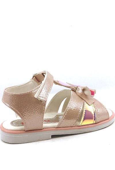 Pingu Pudra Cırtlı Fiyonklu Kız Çocuk Sandalet Ayakkabısı