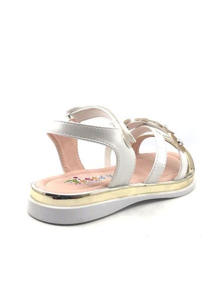 Vetta Beyaz-Altın Cırtlı Kız Çocuk Sandalet